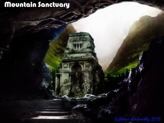 Mountain Sanctuary - art (c) Mani Navasothy2013.  Photos of locations in London, Croydon & Cornwall graphcally worked to create this.