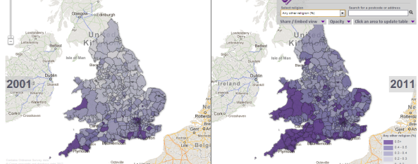 UK Census comparison  (2001 & 2011) for  `Any other religions'  in England & Wales   (c)ONS
