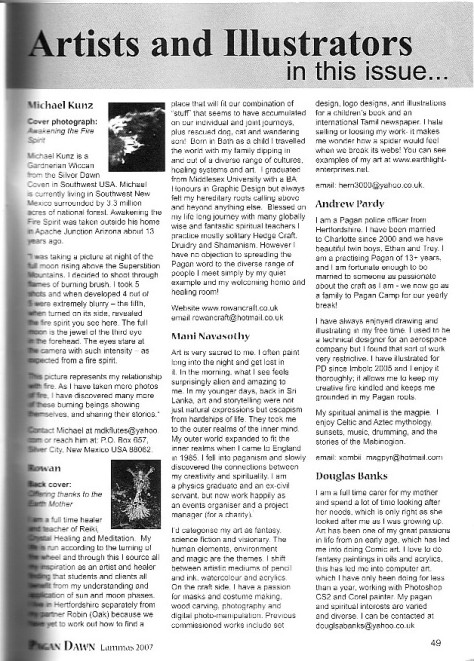 Pagan Dawn autumn 2007 -No164- artists profile for Mani Navasothy