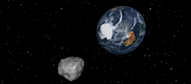 Graphics of 2012 DA14 showing Earth flyby - image by NASA/JPL