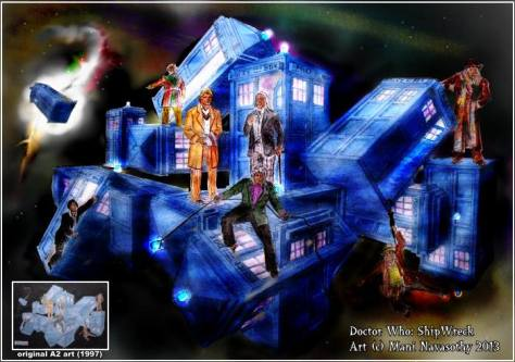 Doctor Who- Shipwreck (TARDIS crash) - sci-fi art by Mani Navasothy 1997 & 2013