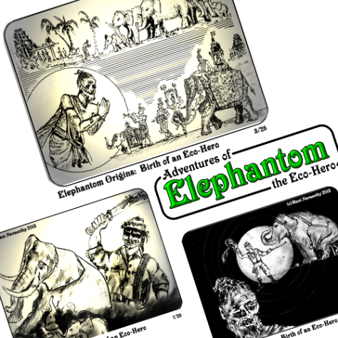 Elephantom Origins-  panels from the NEW eBook for parents & children