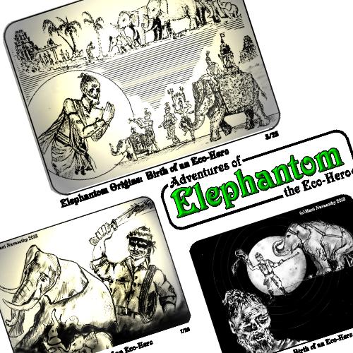 Elephantom Origins-  panels from the NEW eBook for parents & children