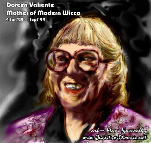 Doreen Valiente -art (c) Mani Navasothy for QuantumPhoenix-net