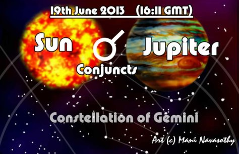 Jupiter conjuncts Sun 19june2013