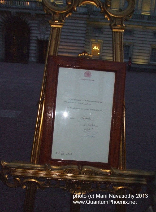 Announcement of Royal Baby at Buckingham Palace 22 July 2013