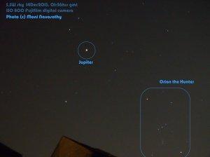 Jupiter & Orion the Hunter. photo (c) Maani Navasothy 14Dec2013