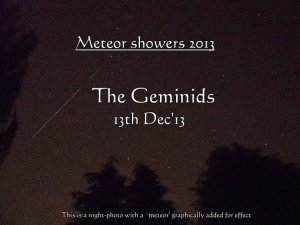 The Geminids Meteor Showers -peaks 13th Dec'13