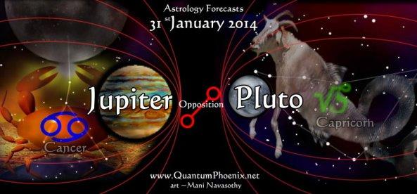 31jan14- Jupiter-opposition to Pluto.   Art (c) Mani Navasothy . www.QuantumPhoenix.net