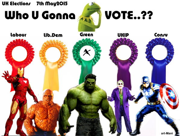 UK Elections 7May2015 - fun muppet & superhero graphics.
