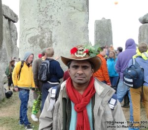 Mani Navasothy at Stonehenge - for Summer Solstice 2015   (photo (c) MN)