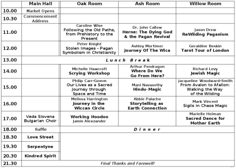 PF London Sacred Journey conference schedule
