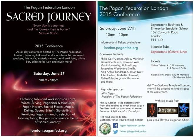 Pagan Federation London- Sacred Journey Conference flyer June 2015