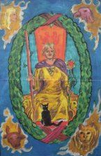 Tarot blend - World & queen of wands (c) Mani Navasothy