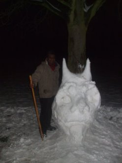Snow hern at Beddington prk