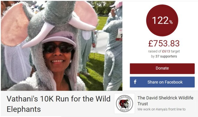 Vathani Elephant run 2016 - funds raised at 11june16