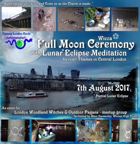 TLC Full Moon Ritual by Thames - summer 2017- lunar eclipse 7aug