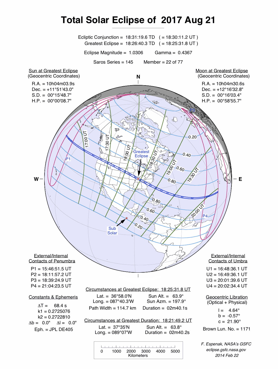 Total Solar Eclipse 20th August 2017 - NASA diagram by Fred Espenak