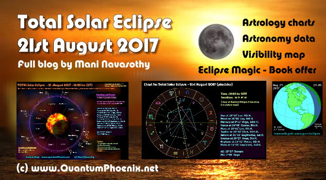 Total SOLAR ECLIPSE- Monday 21st August 2017 (astronomy data & astrology charts & Eclipse Magic book offer)