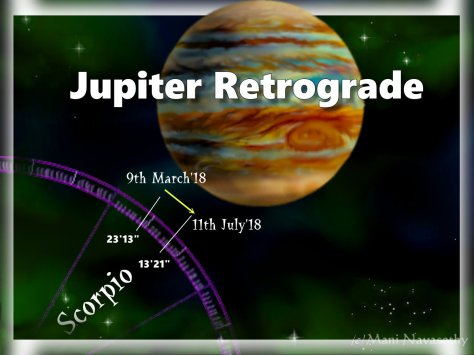 Jupiter retrograde march-july 2018