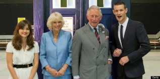 CARDIFF, WALES - JULY 03: Camilla, Duchess of Cornwall and Prince Charles, Prince of Wales meet current stars of Doctor Who Matt Smith and Jenna-Louise Coleman during their visit BBC Roath Lock Studios on July 3, 2013 in Cardiff, Wales. (Photo by Arthur Edwards - WPA Pool/Getty Images)