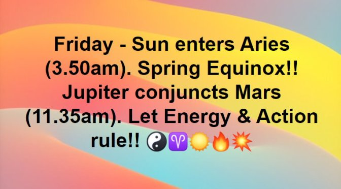 Friday 20/03/2020 : Spring Equinox